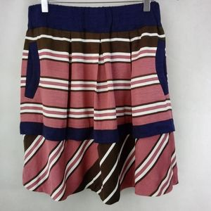 Maeve Anthro Navy Pink Brown Satiny Stripe Skirt 8
